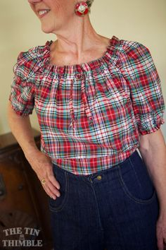 Handmade blouse by Sharon Mansfield. Vintage fabric, vintage pattern.