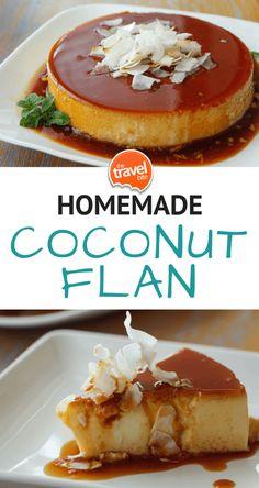 Coconut Flan – The Travel Bite - AB - Filipino desserts Filipino Desserts, Easy Desserts, Delicious Desserts, Dessert Recipes, Yummy Food, Boricua Recipes, Mexican Food Recipes, Sweet Recipes, Comida Filipina