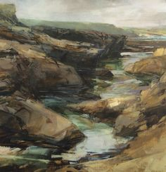 Gully, low light. Oil on board - Sarah Adams