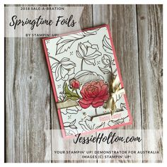 Springtime Foils for the #SDBH Stampin' Dreams Blog Hop with Video. Details, directions and product list on my blog. Shop with me 24/7 in Australia! #JessieHolton #StampinUp Exploding Box Template, Foil Paper, Specialty Paper, Stamping Up Cards, Flower Cards, Homemade Cards, Product List, Spring Time, Cardmaking