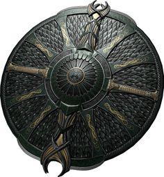 Shield of war Anime Weapons, Sci Fi Weapons, Medieval Weapons, Fantasy Armor, Fantasy Weapons, Medieval Fantasy, Final Fantasy, Medieval Tattoo, Medieval Shields