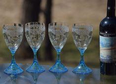 Vintage Etched CRYSTAL Wine glasses, Set of 5 Tiffin Franciscan circa 1920 Vintage Etched Blue Clear Wine Glasses, Lattice Etched Wine Glass Colored Wine Glasses, Vintage Wine Glasses, Crystal Wine Glasses, Lattice Design, Craft Cocktails, 1920, Crystals, Wedding, Etsy