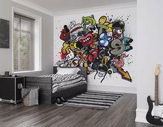 Items similar to Spray Paint Graffiti Photo Wallpaper Mural, Kids Bedroom, Boys Room Decor on Etsy Feature Wallpaper, Photo Wallpaper, Wall Wallpaper, Wallpaper Paste, Boys Room Decor, Kids Bedroom, Bedroom Decor, Wall Decor, Graffiti Room