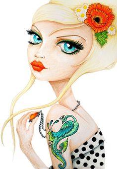 Poppy by Stephanie Zahalka Rockabilly Girl Tattoo Canvas Art Print – moodswingsonthenet
