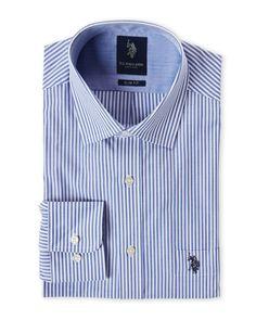 U.S. Polo Assn. Navy Stripe Slim Fit Dress Shirt