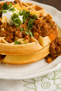 Paula Deen Cornmeal Waffles with Spicy Chili