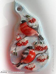 Картина панно рисунок Лепка Ярко-красные птички Тесто соленое фото 1
