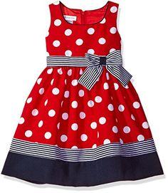 Bonnie Jean Little Girls' Toddler Nautical Dot and Stripe. Kids Dress Wear, Kids Outfits Girls, Little Girl Outfits, Little Girl Dresses, Girls Dresses, Toddler Girl Style, Toddler Dress, Baby Dress, Dot Dress