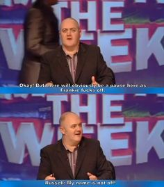 Mock The Week He changed his name to OFF, so his wish that Frankie Boyle FUCKS OFF suggests he is either gay or bisexual 👍 Memes Humor, Jokes, British Memes, British Comedy, Funny Quotes, Funny Memes, Hilarious, Frankie Boyle, Mock The Week