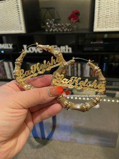 Add your custom name Custom Jewelry, Earrings, Handmade, Accessories, Ear Rings, Stud Earrings, Hand Made, Personalized Jewelry, Ear Piercings