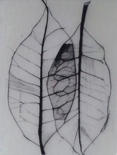 "Benjamin del Castillo; Assemblage / Collage, Mixed Media ""Leaves organic"""