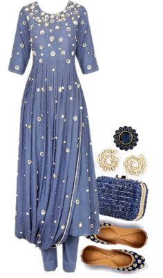 We have an ethnic ensemble today featuring a twilight blue coloured kurta set. It has brilliant pearl and sequins embroidery all over with a cowl drape finish. The rich embroidery calls for minimal jewellery. We have contrasting navy blue juttis, and blue marble stones embellished clutch to go with the inky blue colour of the …