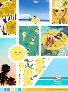 Where did the sun go? Floral print Pineapple inflatable Perrier poster Hula print Lemon inflatable Palm trees Lemons Pool painting x x x Paleta Pantone, Inflatable Palm Tree, Illustrator, Mood And Tone, Colour Board, Pool Paint, Color Stories, Color Inspiration, Inspiration Boards