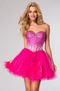2015 Sweetheart Full Beaded Bodice Homecoming Dresses A Line Short/Mini Tulle USD 149.99 LDPB5CA36S - LovingDresses.com