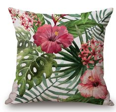 "Amazon.com: Cotton Linen Square Decorative Throw Pillow Case Cushion Cover Hand-painted Tropical Flowers and Birds Foliage Plant Christmas Gift 18 ""X18 "" (6): Home & Kitchen"