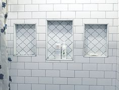 White Subway Tile with Grey Grout in Shower Niche