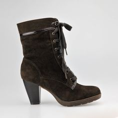 Patent Leather Lace Lace-up Ankle Boots