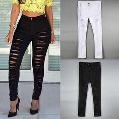 Vestido sexy feminino de calças jeans rasgado Skinny Jeans De Cintura alta, stretch lápis calças
