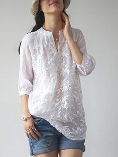 Buy Blouses & Shirts For Women at PopJulia. Online Shopping White Long Sleeve Embroidered Floral Organza Blouse, The Best Blouses & Shirts For Women. Casual Wear, Casual Outfits, Fashion Outfits, Womens Fashion, Fashion Trends, Latest Fashion, Fashion Ideas, Fashion Blouses, Dress Casual