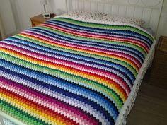 Rainbow Granny Stripe Blanket: free pattern