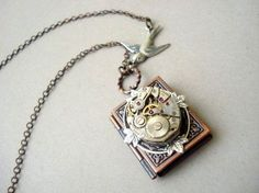 Steampunk Book Locket Two cool things—steampunk-style gear construction and books—arranged in one finely crafted piece of jewelry. $29.00
