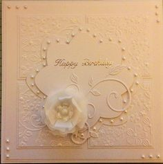 White on white floral first card of the year xx
