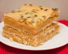 Vanilla slice. Old school style with passionfruit icing. YUM #vegan #veganforeveryone