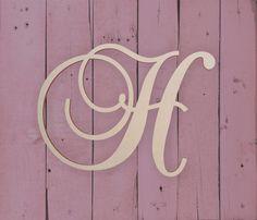 Wooden Monogram Letter Large or Small Unfinished Cursive