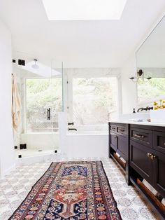 Eclectic Bathroom With Persian Rug And Black Accents