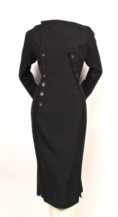 1980's YOHJI YAMAMOTO black dress with asymmetrical button closure image 2