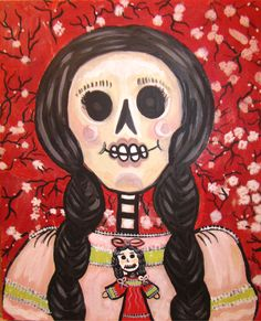 Calaca with Doll by Martha Rodriguez 16 x 20, mixed media on canvas
