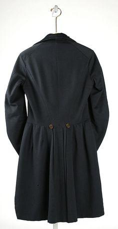Circa 1830 Tail coat, back. Metropolitan Museum of Art.