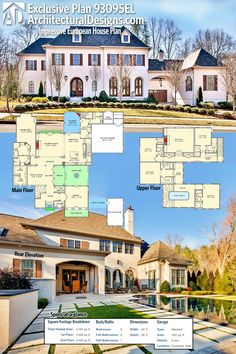Architectural Designs Exclusive European House Plan 93095EL gives you just over 5,700 square feet of heated living space and ample outdoor living. Ready when you are. Where do YOU want to build?