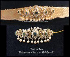 Vaddanam with Detachable Choker - Latest Indian Jewellery Designs indianjewellerydesign Vanki Designs Jewellery, Antique Jewellery Designs, Gold Jewellery Design, Vaddanam Designs, Handmade Jewellery, Silver Jewellery, Gold Earrings For Women, Gold Earrings Designs, Jewelry Model