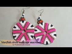 Welcome to Thaohandmade channel. How to make earrings DIY: Starfish circle earrings macrame by Thaohandmadechannel. How To Make Earrings, Diy Earrings, Crochet Earrings, Macrame Earrings Tutorial, Earring Tutorial, Macrame Jewelry, Diy Jewelry, Micro Macrame, Circle Earrings