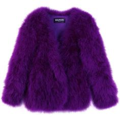 FEATHER JACKET (€2.279) ❤ liked on Polyvore featuring outerwear, jackets, coats, fur, women, feather jacket, balmain jacket, purple jacket, balmain and open front jacket