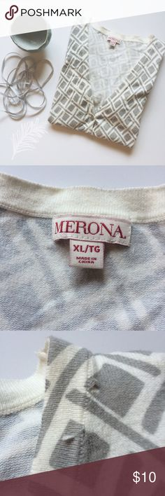 Merona Diamond Pattern Cream and Grey Cardigan This cute cream and grey cardigan by Merona is wonderful for when it's chilly outside! It has a very cute abstract diamond pattern and a v-neck. It does have a few imperfections and pulls. Size XL. Merona Sweaters Cardigans