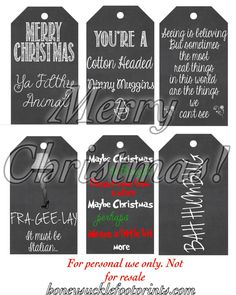 Movie Quote Chalkboard Christmas Tags by SmallwoodCreations1Movie Quote Chalkboard Christmas Tags *Instant Download* Black & White Holiday Labels, DIY, 6 Blackboard Christmas Tags