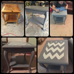 Updated table with paint, my husbands taping skills & sand paper.