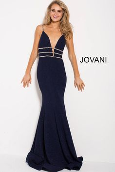 c6dfd9d664 Style 58549 from Jovani is a plunging V neck fitted gown with beaded straps  and an