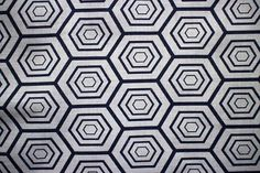 Blue and White cotton kimino/ ukata Fabric with geometric hexagon pattern. Sold in 1/2 meter blocks.