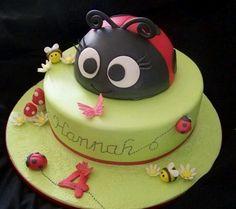Ladybug cake. Same one as earlier. Different angle.