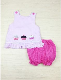 Cupcake applique pink striped bloomer set. Pink polka dot bubble shorts with elastic waist. The perfect outfit for a birthday celebration!