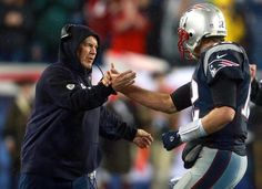 Foxborough, MA 01/18/15 Coach Bill Belichick congratulates Tom Brady in the fourth quarter at Gillette Stadium Sunday, January 18, 2015. AFC Championship Game between the New England Patriots and the Indianapolis Colts . (Jim Davis/Globe Staff)