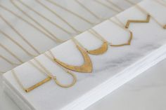 Geometric Hammered Brass Necklaces – Acute Designs