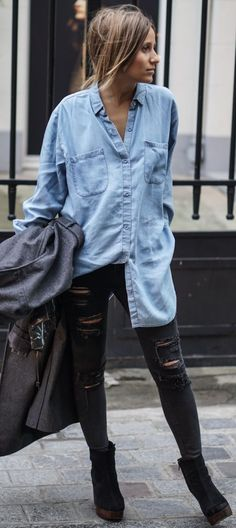 Oversized denim shirt, distressed skinnies and suede platform ankle boots.