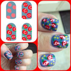 Nails: Vintage roses!