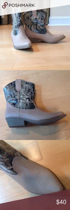 Snakeskin Cowboy Boots NEVER WORN Never worn. Been sitting in my closet because they are too big for me. They are very comfortable inside (snakeskin is not real). Mid-calf. Brand is Rampage. LF tagged for views LF Shoes Ankle Boots & Booties