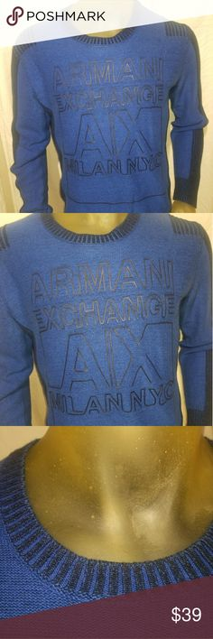 A/X ARMANI EXCHANGE MEN'S COTTON BLEND SWEATER MED PREOWNED A/X ARMANI EXCHANGE COTTON BLEND LONG SLEEVE MEN'S SWEATER SHIRT. BLUE WITH BLACK LETTERING . SIZE MEDIUM. VERY NICE. *CARE TAG WAS CUT. OTHERWISE IN EXCELLENT SHAPE. NO RIPS NO HOLES NO STAINS ETC.  MEASURES:  ARMPIT TO ARMPIT -22 INCHES SLEEVE LENGTH ------ 21 INCHES TOTAL LENGTH -------- 25 INCHES Armani Exchange Sweaters Crewneck