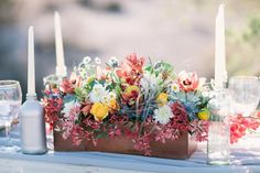 Bright Wildflower Arrangement in Wooden Box   floral design by  http://www.sarahsweddinggarden.com/   photography by  http://brushfirephotography.com/